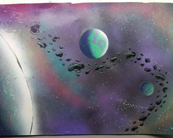 "Macrocosmos | 15"" x 22"" Spray Paint Art"