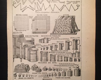 Metrique - Metric - Antique French Dictionary Page - Original 1940s Illustrated Lithograph