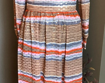 60s Vintage Striped Manford Maxi Dress/ Small/ Medium