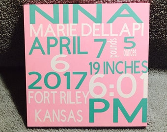 Birth Stats Wood Sign, Birth Announcement Sign, Baby Wooden Sign, Birth Sign, Baby Birth Wooden Sign, Baby Shower Gift, Baptism Gift