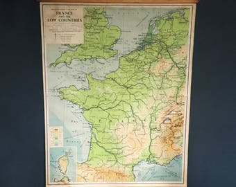 Vintage Mid-Century Geography Educational Map France & Low Countries.
