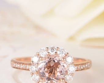 Morganite Engagement Ring Rose Gold Antique Moissanite Halo Flower Solitaire Ring Diamond Woman Ring Antique Unique Promise Bridal Set Gift