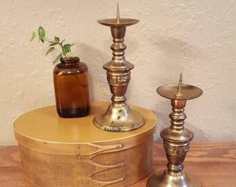 Pair of vintage brass candlesticks.  Vintage ornate brass candlesticks with candle spike.   Boho candleholders