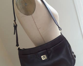 VINTAGE 70's OXBLOOD Leather Saddle Bag Shoulder Bag Equestrian Style by Etienne Aigner