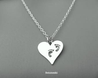 Baby Footprints Necklace - Sterling Silver HEART with Footprints Necklace - Heart Necklace - Love Jewelry