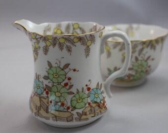 Antique Ceramic Floral Cream and Sugar Set, Bone China - Royal Radfords - Made in England