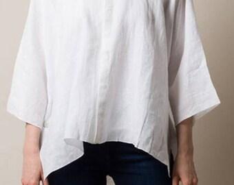 Linen Tunic Top -  Linen Top -  Loose linen top -  Linen Blouse - Plus size Linen top
