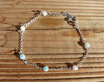 Sterling Silver 925 chain bracelet iridescent white swarovski pearls