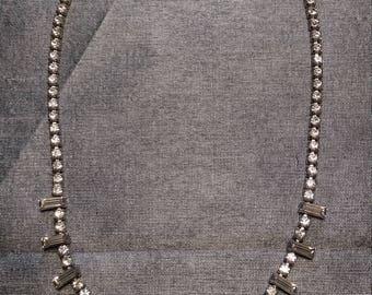 Stunning Round & Baguette cut Rhinestone Necklace