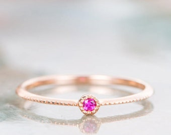 Dainty Wedding Ring Ruby Wedding Band Rose Gold Engagement Ring Solitaire Bridal Ring Stacking Promise Customize Women Gift for Her