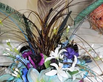 Hand painted silk floral arrangements