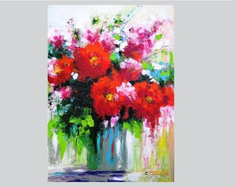 Flower painting decor Palette knife painting on canvas Acrylic painting decor Abstract flower decor Canvas wall art Knife palette art flower