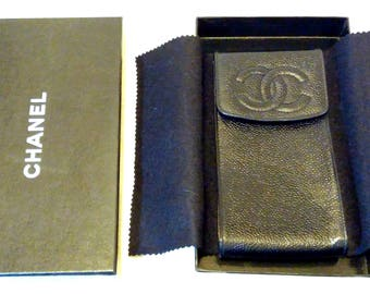 Chanel Caviar Leather Case Pouch Chanel CC Logo Excellent For Smart Cellular Mobile Phone Eyewear Authenticity Card Italy Vintage Retired