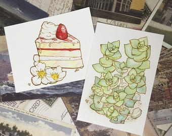 Strawberry and/or Succulent Postcards