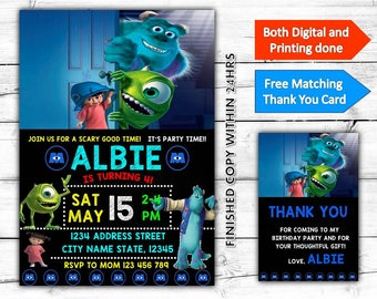 Monsters Inc University Birthday Printable Invitation Plus Free Thank You Card-Both Digital and Printing done