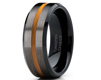 Orange Tungsten Wedding Band Gunmetal Tungsten Ring Orange Tungsten Ring Men & Women Black Tungsten Ring Comfort Fit