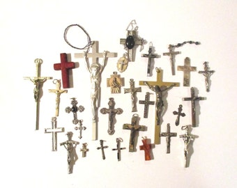 Vintage Religious Lot of 28 Crosses and Crucifixes,Catholic Lot,Vintage Crucifix Lot,MOP & Amber Cross,W.Germany Eloxal Cross,Cloisart