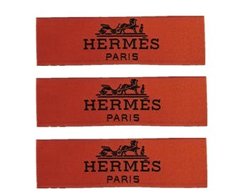 Hermes labels,brand woven labels,labels for clothing,labels for shirts.labels for jackets,labels patch,labels for blouse,orange woven labels