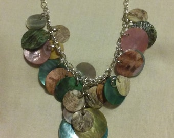 Silver Necklace with Multicolored Shells