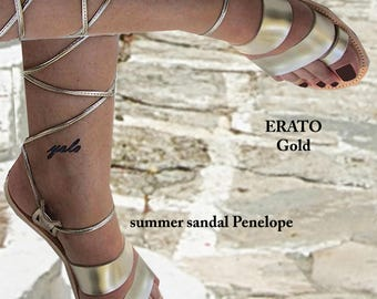 Sandals Womens,Womens  Sandals,Leather Sandals, Handmade Sandals,Lace up Santals,Gladiator Sandals, Greek Sandals, Gold , ERATO