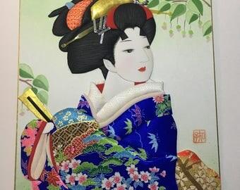"""Hiro's Art Japan 164 """"Kaze-kaoru""""About 10.5"""" × 9.5"""""""