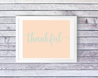 Thankful Printable, Thankful Sign, Thanksgiving Decor, Fall Sign, Fall Decor, Coastal Thanksgiving, Coastal Decor Print, Kitchen Printable