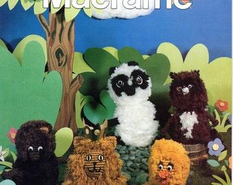 Vintage The Wild Kingdom of Macrame Animal Patterns PDF Instant Download eBook Macrame Menagerie Panda Bear Lion Caterpillar Duck Poodle