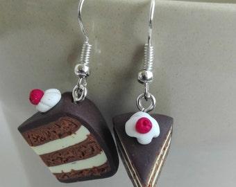 Chocolate and vanilla earrings, miniature food earrings, cake earrings, polymer clay earrings