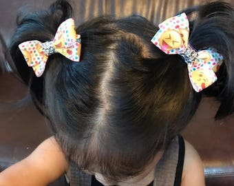 Lot of 2 Cute Emoji Hair Bow Baby Girls Toddlers Hair Accessory