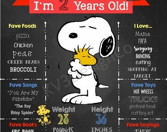 Multiple Designs - Snoopy Charlie Brown Peanuts Birthday Poster Sign