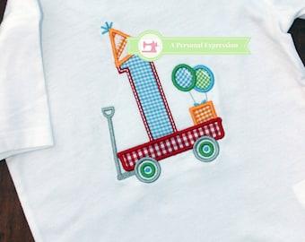 Birthday Applique Personalized Shirt Boy / Onesie / Wagon / Number / Balloon / Birthday Hat / Applique Shirt /  Embroidery / Gingham / Child