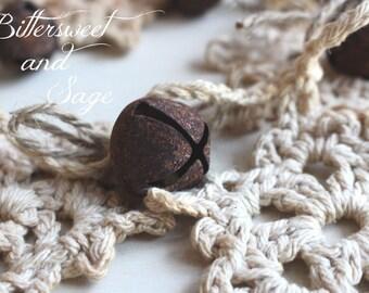Crocheted Snowflake Garland, Primitive Snowflake Garland, Rusty Bell Snowflake Garland, Christmas Snowflake Garland, Prim Snowflake Garland