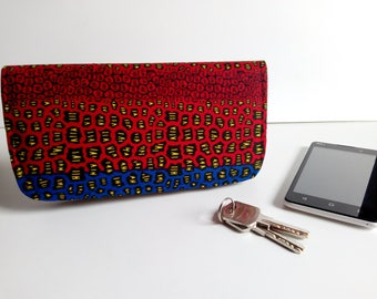 Wallet - made with wax / ankara fabric - red and blue