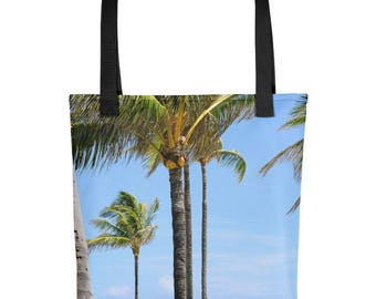 Palm Tree Tote Bag, Surf, Tropical, Unique, Washable, Strong, Overnight, Market, Shopping, Casual Handbag Handmade, Girls, Beach Lover Gift