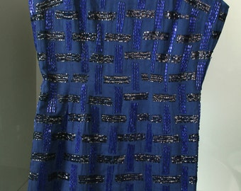Vintage Blue Cobalt Embroidered dress