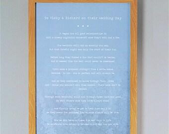 Bespoke, Personalised Wedding Poem/Reading Print - A4 32 Lines