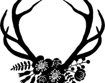 Antler Floral svg, Svg Antler, Svg Floral, Floral Ornament svg, Silhouette, files for Cricut, svg designs, instant download, vector antler