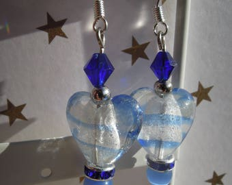 Blue, heart earrings