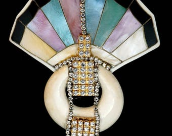 Brooch Pastel Shell Fan