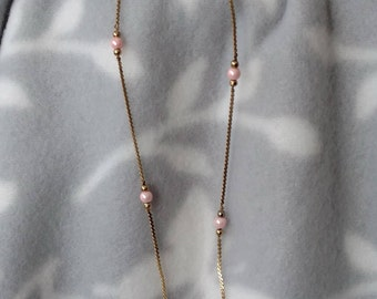 Delicate Gold Chain With Pink Beads