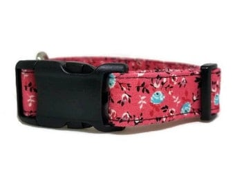 Coral Floral Dog Collar