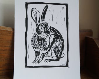 "Original, Unframed, Hand Pulled, Linocut Print - Wild Rabbit - 6""x4"" on A5 Paper - lino ink paper"