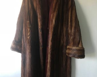 Vintage Muskrat Fur Coat Women's Size Large