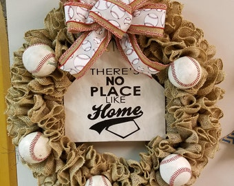 "16"" burlap burlap wreath with baseballs and home plate sign"