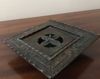 Vintage Metal/ Iron Bronze Patinated Trinket Holder, Ashtray