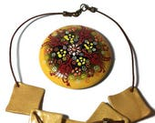 Polymer Clay Yellow Sqaure Necklace Statement Jewelry Necklace Geometric Jewelry Leather Cord Necklace Unusual Necklace Hippie Necklace