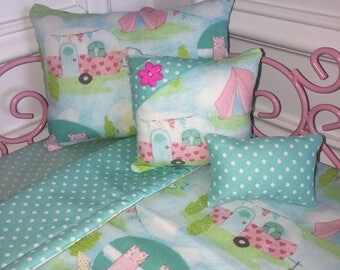 "18"" Doll Bedding Set/American Girl Bedding/4pc Doll Bedding Set/Doll Bedding/Camping Fun"