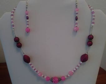 Glitter Pink Necklace & Earring Set