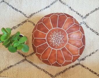 Genuine leather Moroccan Pouf , pouffe , ottoman,P19