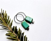 Small Turquoise Earrings, Tropical Blue Green Czech Glass and Oxidized Sterling Silver - Little Bits - Cayman